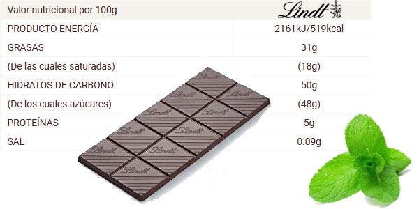 Pack x5 Tabletas Lindt chocolate negro con Menta chollo en Amazon