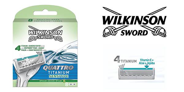 pack 8 cuchillas Wilkinson Sword Quattro Titanium Sensitive oferta