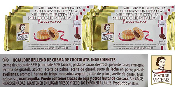 pasta de hojaldre rellena de crema de chocolate Matilde Vicenzi chollo