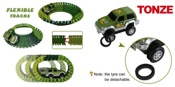 Pista coches flexible Tonze tipo Jurassic Park chollo en Amazon