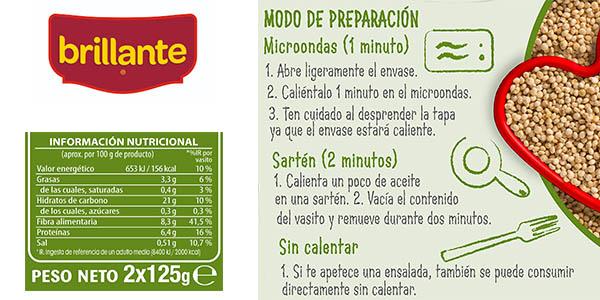 quinoa integral vasitos de microondas Brillante en oferta