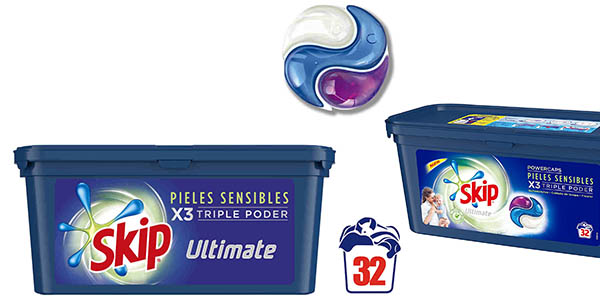 Skip Ultimate Triple Poder pieles sensibles detergente cápsulas 32 lavados chollo