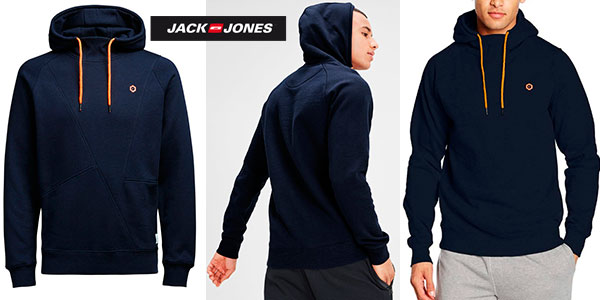 Sudadera Jack & JonesJcopinn azul con capucha para hombre en oferta