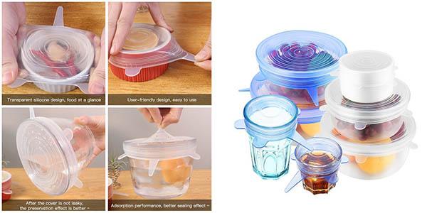 tapas de silicona ajustables para bols y tápers de cocina oferta