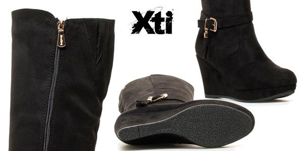 32ef0fc0 Botas altas Xti Lena de tacón o de cuña en color negro para mujer chollazo  en
