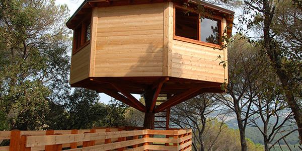 cabanes Dosrius para dormir en los árboles Provincia Barcelona