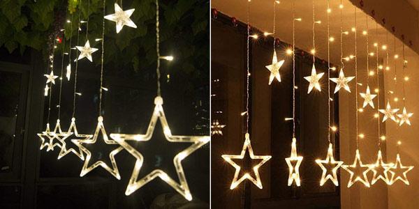 Cortina de luces LED Salcar con diseño de estrellas para Navidad barata en Amazon