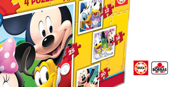 Maleta con 4 Puzzles progresivos Mickey Mouse de Educa Borrás Disney chollo en Amazon