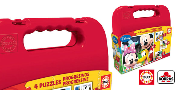 Maleta con 4 Puzzles progresivos Mickey Mouse de Educa Borrás Disney barato en Amazon