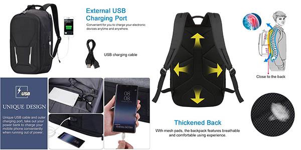 mochila para portátil Vbiger acolchada con puerto de carga USB chollo