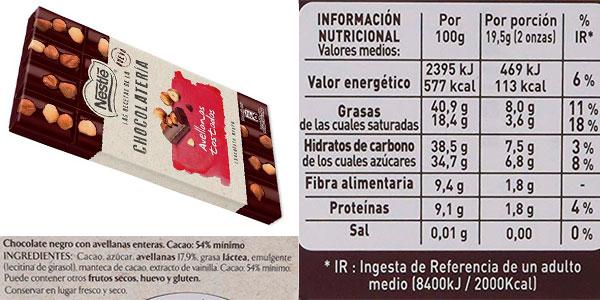 Pack de 15 tabletas Nestlé de chocolate negro y avellanas barato