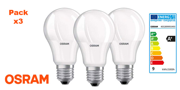 Pack 3 Bombillas Led 9W Osram Base Classic A barato en Amazon