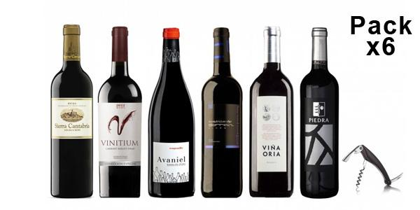 Pack 6 vinos tintos + sacacorchos profesional barato en eBay