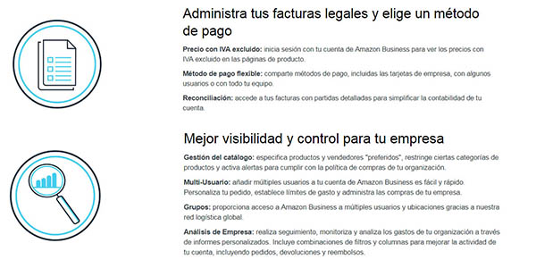 servicio y condiciones Amazon Business