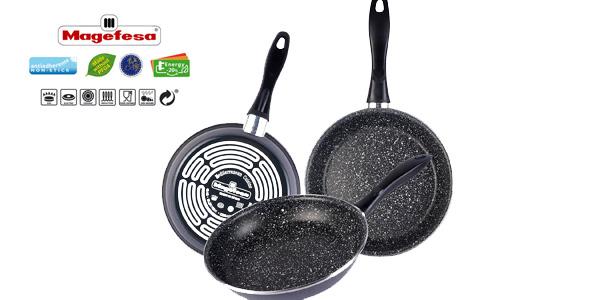 Set 3 sartenes Magefesa Gransasso piedra 18-20-24 libre PFOA todo tipo cocinas barato en eBay