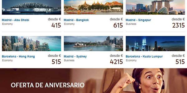 vuelos en oferta Etihad Airways aniversario 15 años