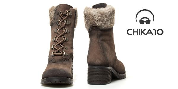 Botines de piel serraje Lisa Chika10 en marrón o negro para mujer chollazo en eBay