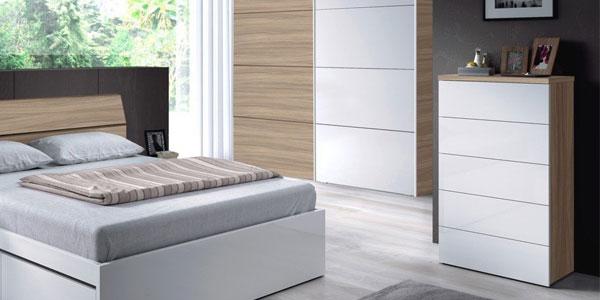 Cómoda dormitorio sinfonier Duehome blanco y madera nature chollo en eBay