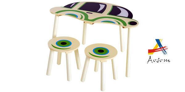 Conjunto infantil Homcom de mesa y 2 sillas de madera barato en eBay