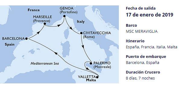 crucero MSC Mediterráneo Palermo y Malta chollo