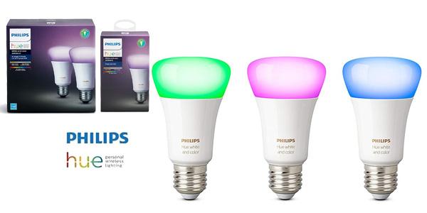 Pack 3 bombillas LED E27 Philips Hue White and Color Ambiance barato en Amazon