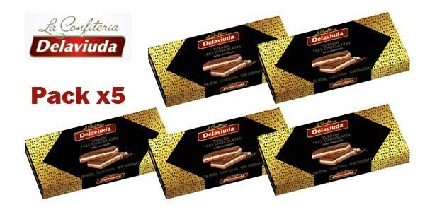 Pack x5 Tabletas Turrón Delaviuda tres chocolates barato en Amazon