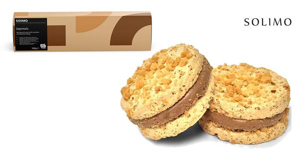 Pack x8 Cajas Galletas de merengue Japonais Amazon Solimo rellenas de chocolate y avellana chollo en Amazon