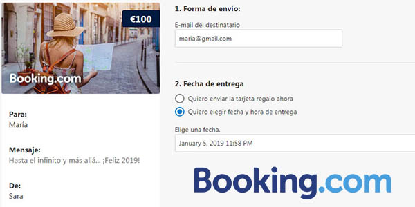 Booking tarjeta regalo digital para alojamientos