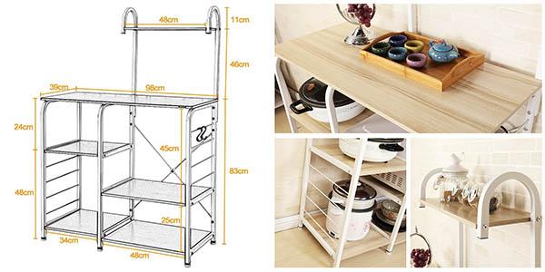 carro estantería para microondas y organización para cocina DlandHome chollo