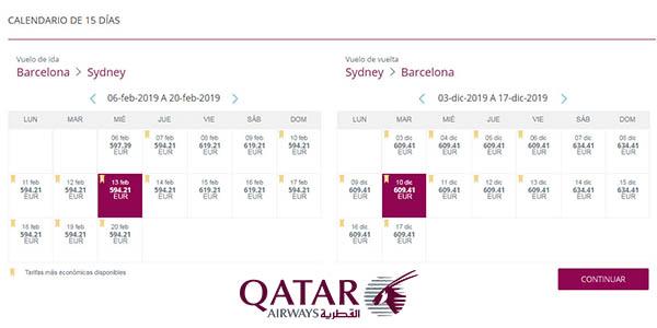 promoción Qatar Airways en vuelos a Sídney y Melbourne