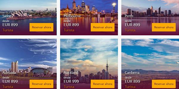 Qatar Airways ofertas en vuelos a Australia