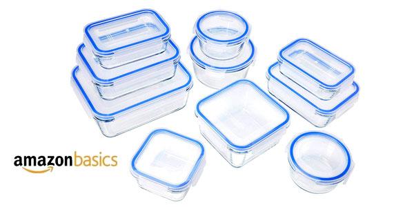 Set 20 Unidades Recipientes de cristal AmazonBasics para alimentos con tapas baratos en Amazon