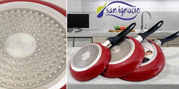 Set de 3 sartenes San Ignacio Red & Marmol rojo chollazo