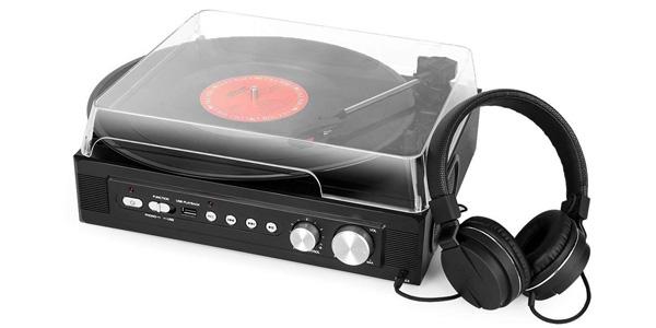 Tocadiscos 1byone con reproducción y grabación de vinilo a MP3 color negro chollazo en Amazon