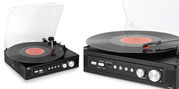 Tocadiscos 1byone con reproducción y grabación de vinilo a MP3 color negro barato en Amazon