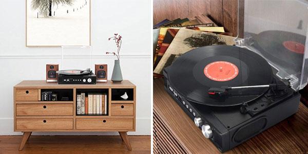 Tocadiscos 1byone con reproducción y grabación de vinilo a MP3 color negro chollo en Amazon