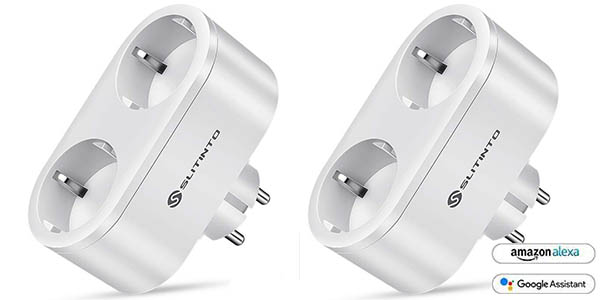 Pack 2x Enchufe inteligente WiFi Slitinto compatible con Alexa y Google Assinstant