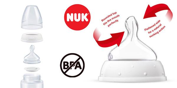 Pack de 3 Biberones Nuk con tetina de silicona para bebés de 0 a 6 meses chollazo en Amazon