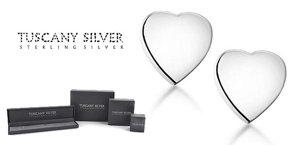 Pendientes Tuscany Silver Corazones en Plata de Ley 925 baratos en Amazon