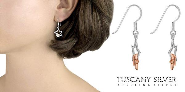 Tuscany Silver Pendientes de mujer con plata de ley doble estrella chollo en Amazon