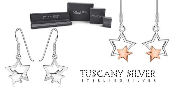 Tuscany Silver Pendientes de mujer con plata de ley doble estrella baratos en Amazon