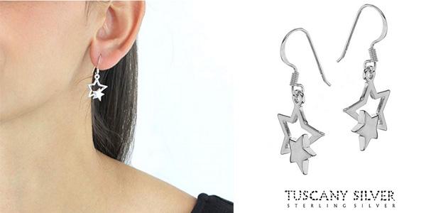 Tuscany Silver Pendientes de mujer con plata de ley doble estrella chollazo en Amazon