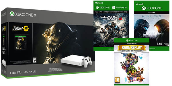 Xbox One X + Fallout 76 + Halo 5 + Gears of Wars 4 + Rare Replay