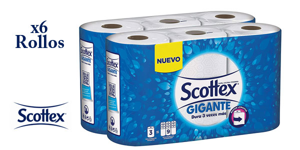 2 packs de 3 rollos de Papel de cocina Scottex Gigante barato en Amazon