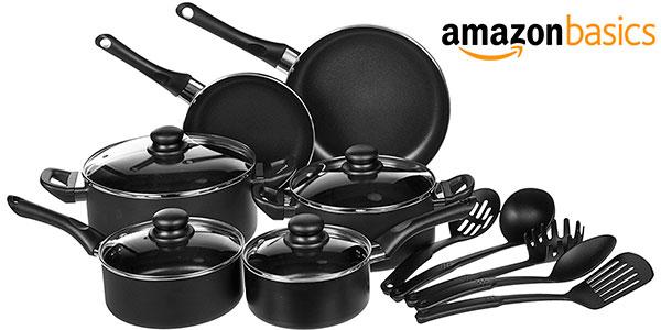 Chollo Juego AmazonBasics de 15 utensilios de cocina antiadherentes