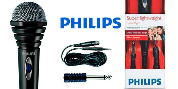 Micrófono dinámico Philips SBCMD110/00 con cable para karaoke barato