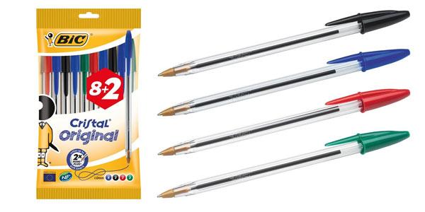 PAck de 10 bolígrafos BIC Cristal Original en oferta en Amazon