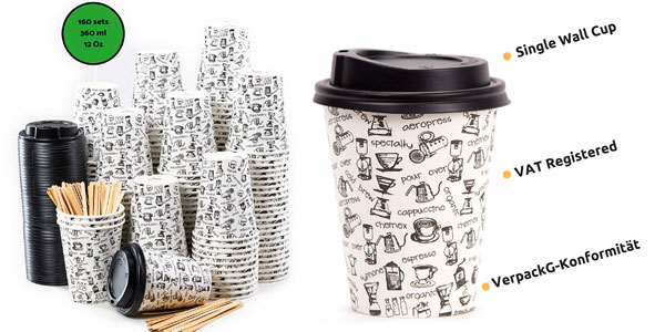 Pack x160 vasos de café desechables para llevar de 360 ml con tapa y agitador barato en Amazon