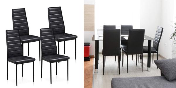 Pack 4 sillas comedor T lovendo DC001 baratas en Amazon