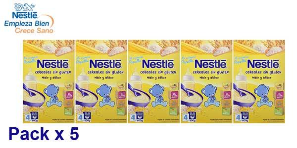 Pack x5 Envases Papillas de Cereales Mi Primera Papilla Nestlé con bífidus y sin gluten a partir de los 4 meses x 600 gr/ud barato en Amazon
